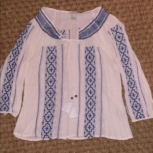 Forever 21 -Blue & White Top with Tassel Ties